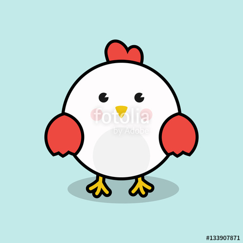 500x500 Cute Chicken Vector Illustration For Chinese New Year 2017 Cards