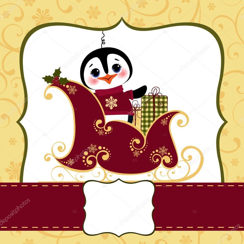 1024x1024 Cute Christmas New Year Postcard Template Stock Vector