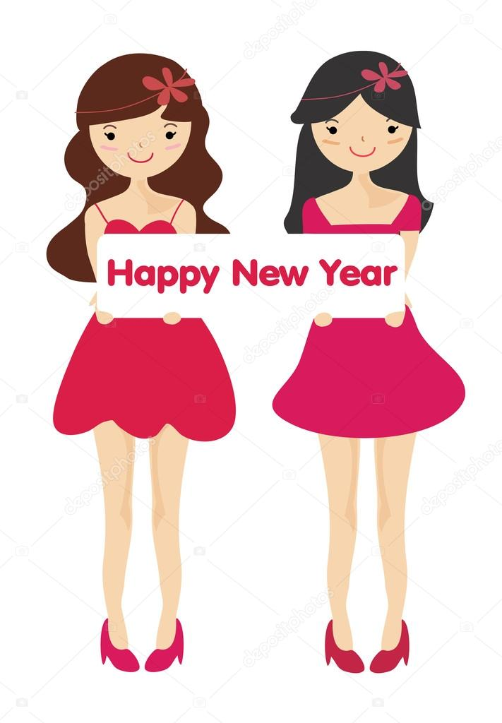 711x1024 Cute Girls With Happy New Year Letter Board Stock Photo