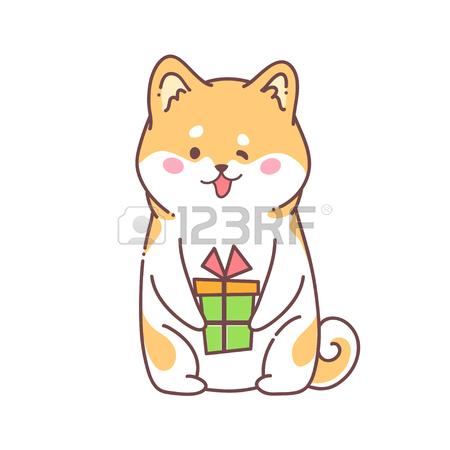 450x450 Greeting Card Happy New Year. Vector Illustration Hussy Dog
