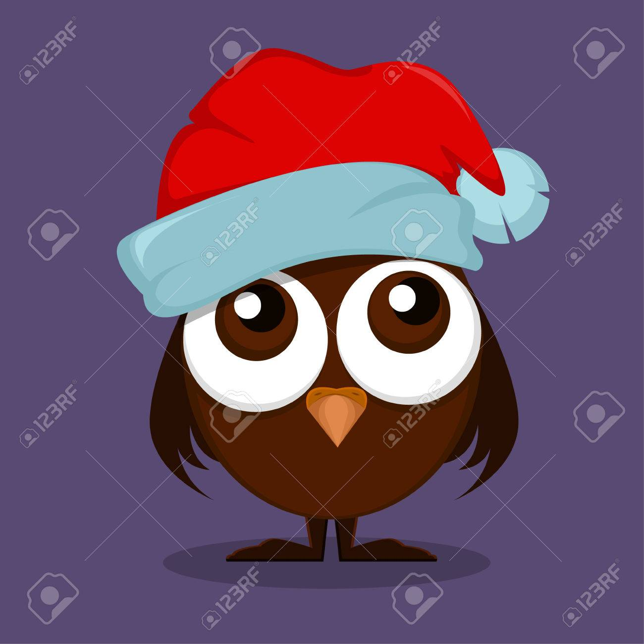 1300x1300 Owlet In Christmas Hat With Big Eyes Wishes Merry Christmas