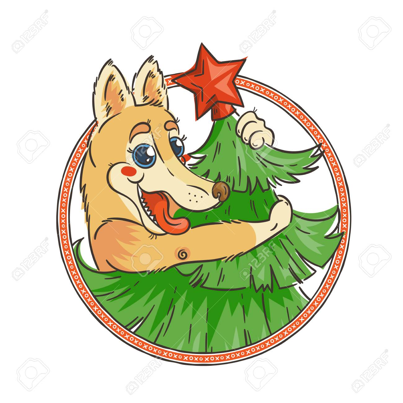 1300x1300 Yellow Dog For New Year 2018, Cute Symbol Of Horoscope. Cute
