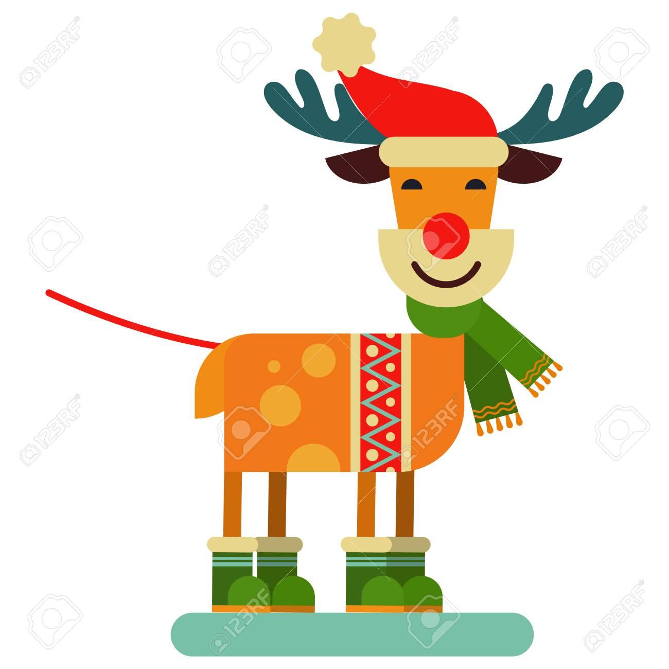 1300x1300 Christmas Cute Reindeer Santa Claus Character Vector New Year