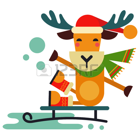 450x450 Christmas Cute Reindeer Vector Character New Year Illustration