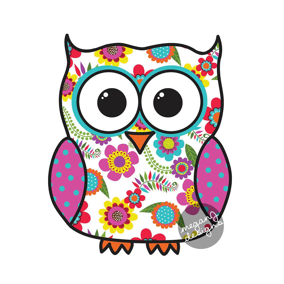 1200x1200 Colorful Floral Owl Car Decal Sticker Cute Owl Bumper Sticker