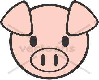 Cute Pig Face Clipart