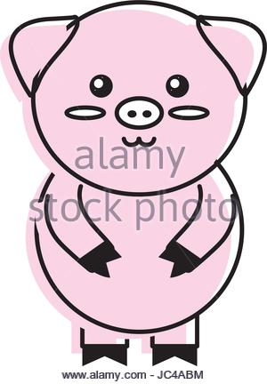 300x432 Cute Pig Wild Animal With Face Expression Stock Vector Art