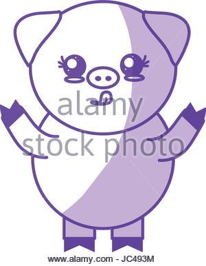 300x386 Silhouette Face Cute Pig Animal Farm Icon Stock Vector Art