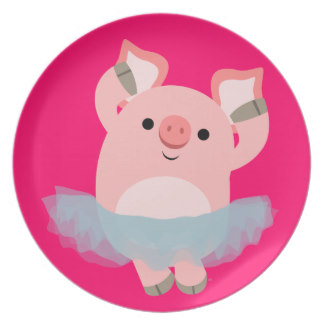 324x324 Cute Pig Cartoon Plates Zazzle