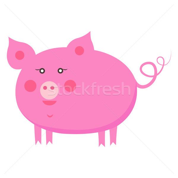 600x600 Cute Piggy Cartoon Flat Vector Sticker Or Icon Vector Illustration