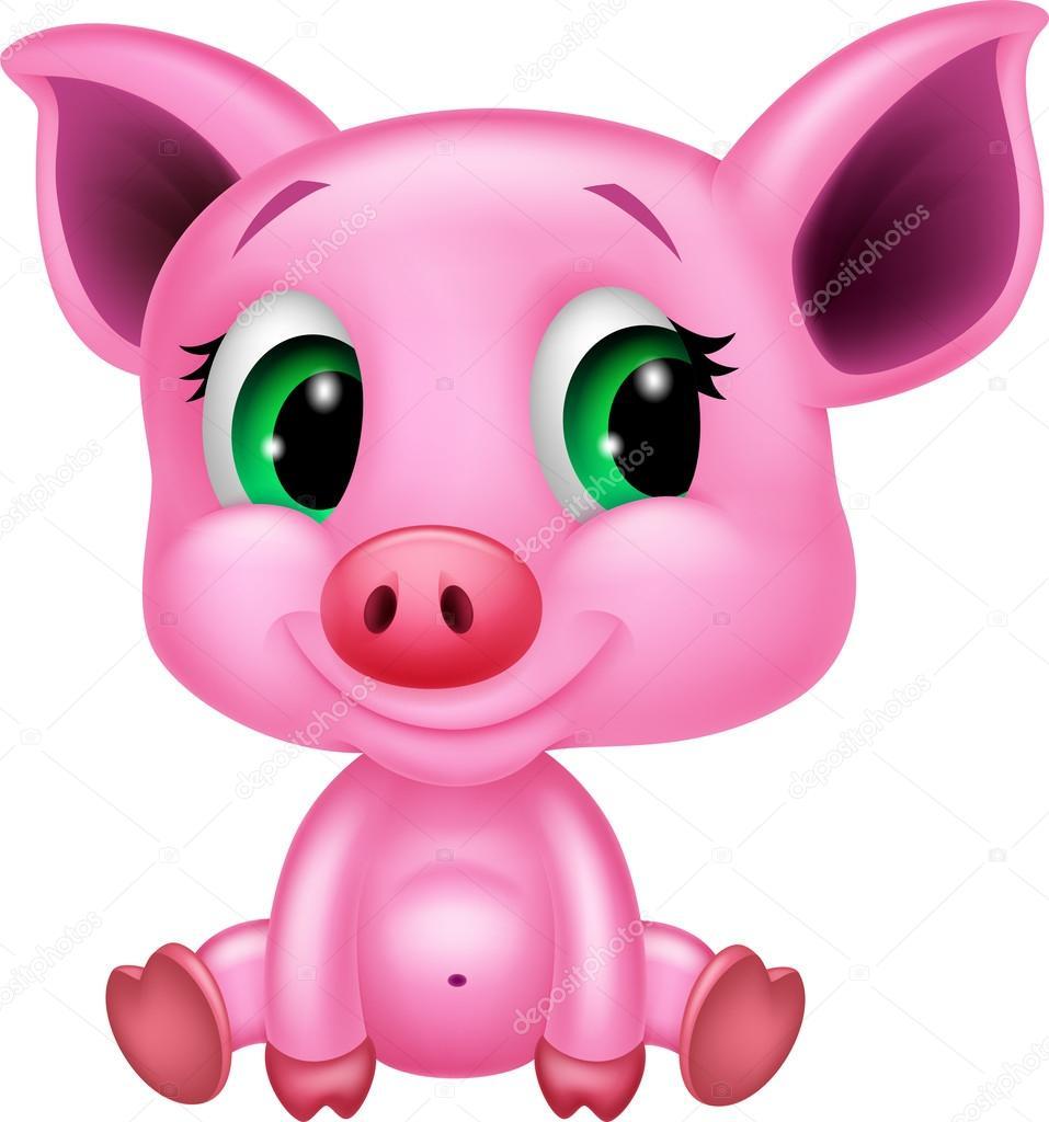 957x1024 Cute Baby Pig Cartoon Stock Vector Tigatelu