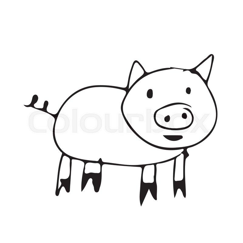 800x800 Cute Pig Cartoon Stock Vector Colourbox