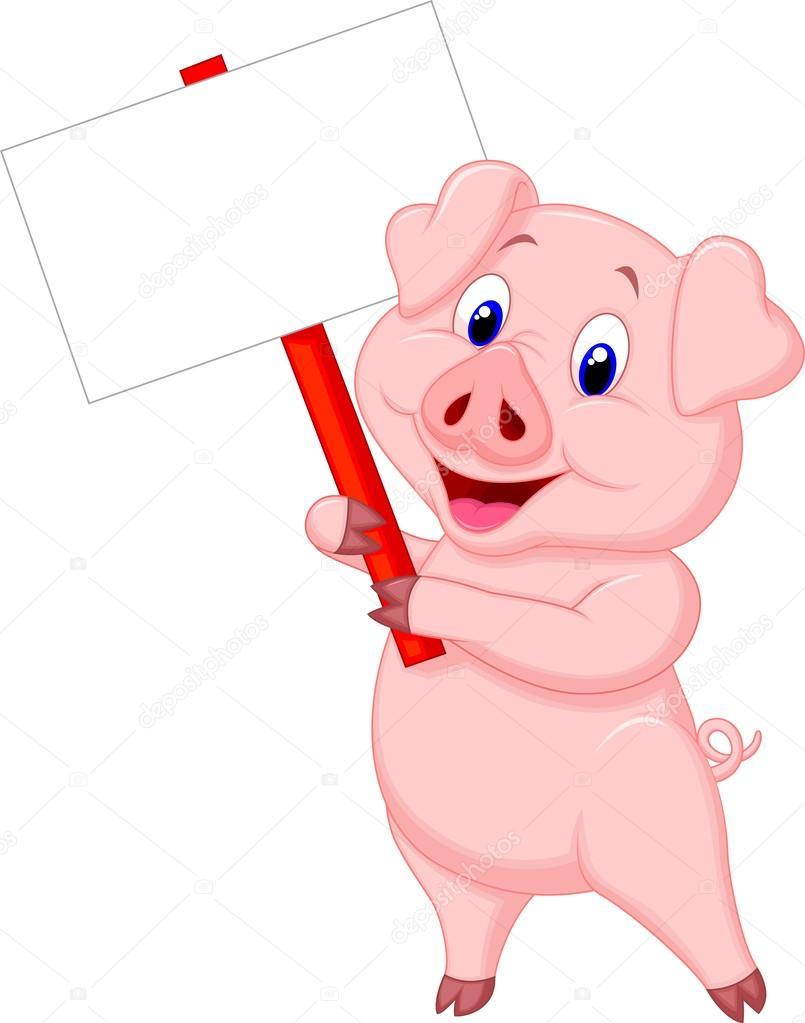 805x1023 Cute Pig Cartoon With Blank Sign Stock Vector Tigatelu