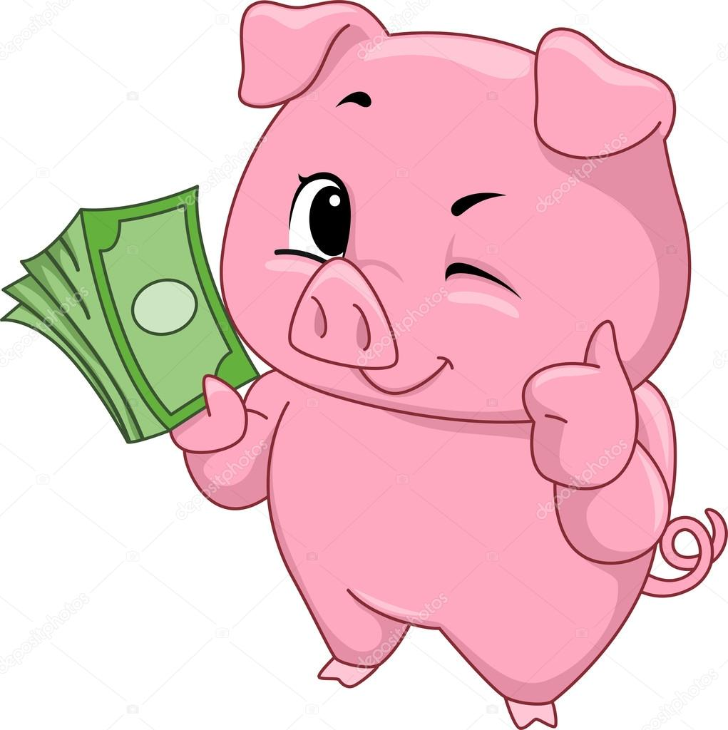 cute piggy bank clipart