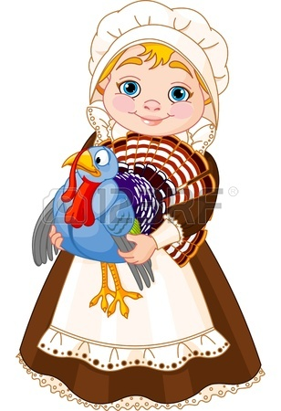 308x450 Illustration Of Cute Pilgrim Lady With Turkey Royalty Free
