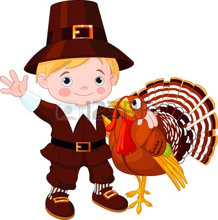 446x450 Illustration Of Cute Pilgrim Turkey Into Pumpkin Royalty Free