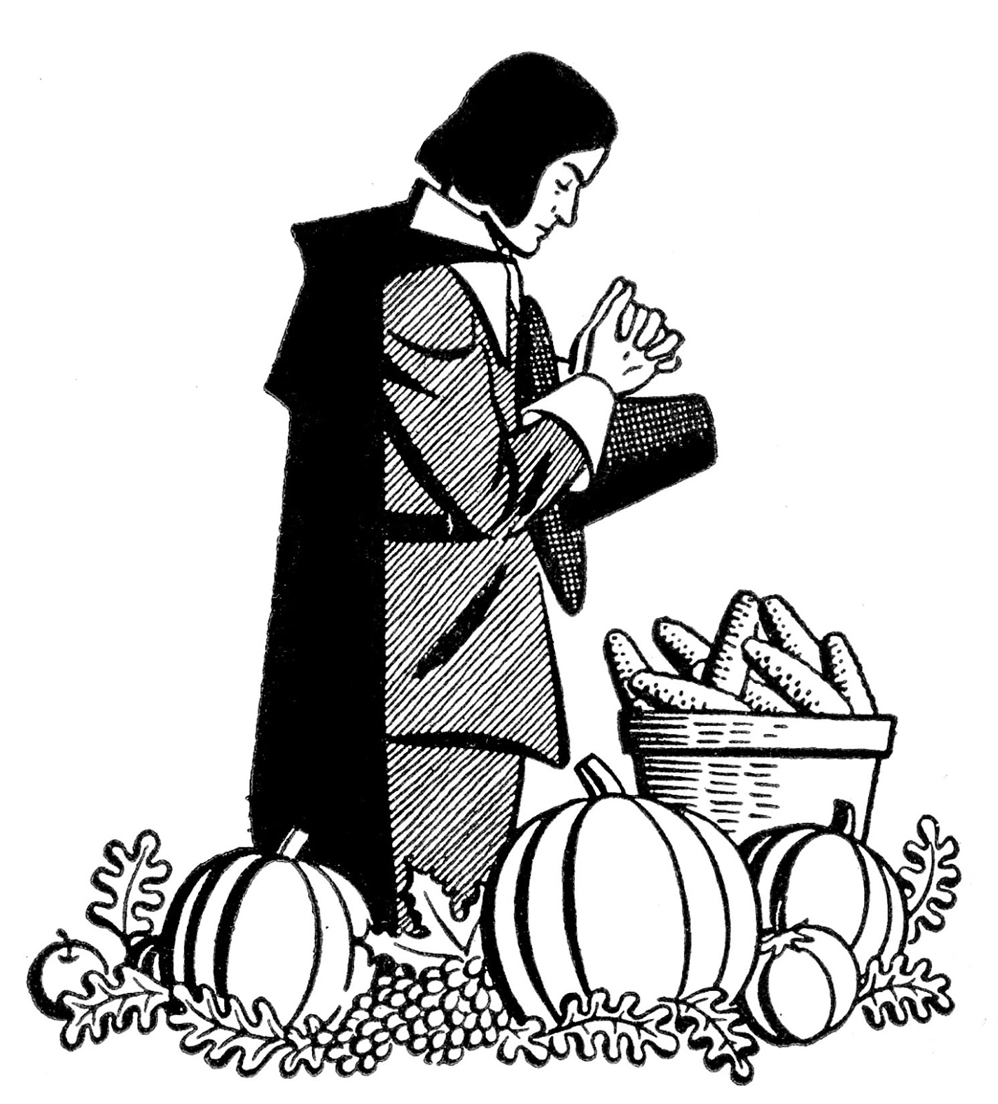 1446x1600 Vintage Thanksgiving Clip Art