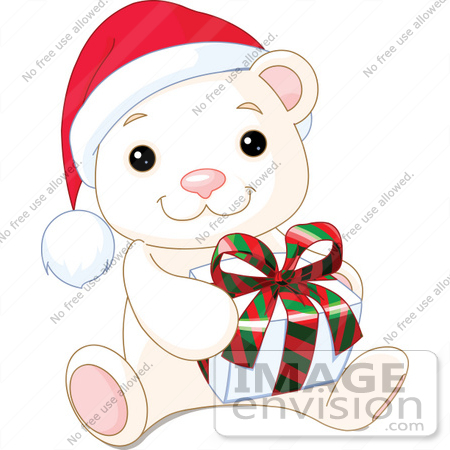 450x450 Clip Art Illustration Of A Cute Baby Polar Bear Wearing A Santa