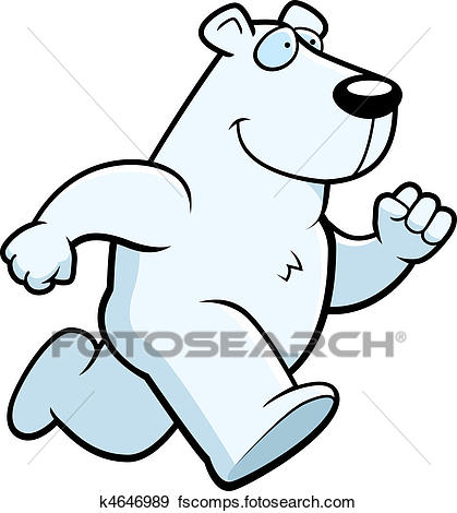 419x470 Clip Art Of Polar Bear Running K4646989
