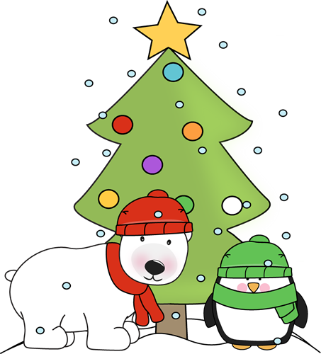 453x500 Penguin, Polar Bear, And Christmas Tree In The Snow Clip Art