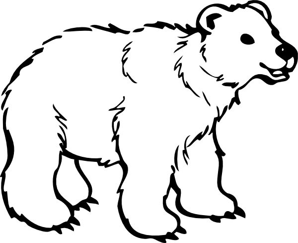 600x488 Polar Bear Clip Art Black And White Free Clipart