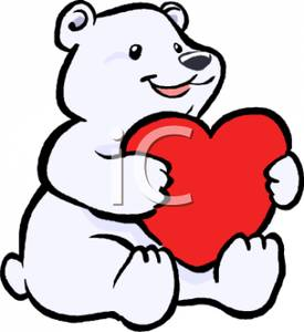 275x300 Art Image A Cute Polar Bear Holding A Red Heart