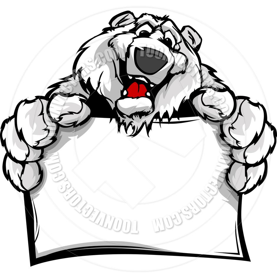 940x940 Cartoon Vector Image Of A Happy Cute Polar Bear Holding Sign By