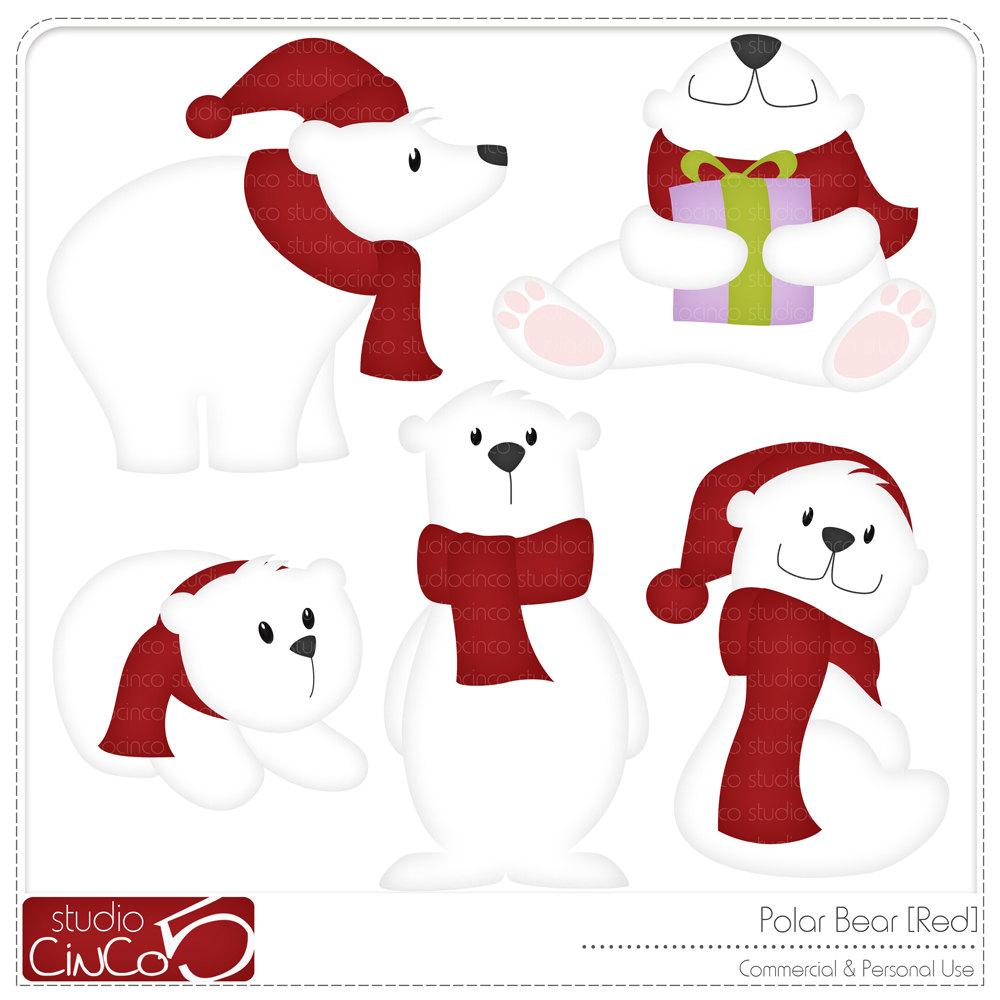 1000x1000 Cute Polar Bear Christmas Clipart