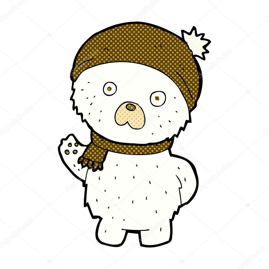 1024x1024 Comic Cartoon Cute Polar Bear In Winter Hat And Scarf Stock