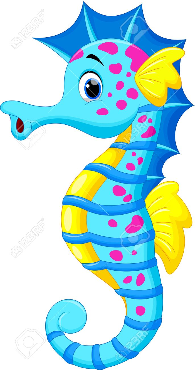 686x1300 Vector Illustration Of Cute Seahorse Cartoon Royalty Free Cliparts