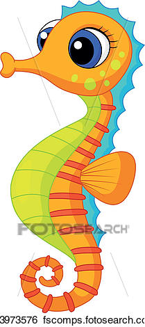 209x470 Clip Art Of Cute Seahorse Cartoon K13973576