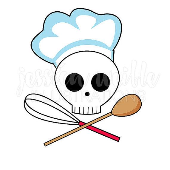 570x570 Skull Chef Clip Art Cute Digital Clipart Chef Clip Art