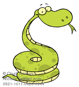 271x300 Clipart Image of A Cute Green Cartoon Snake