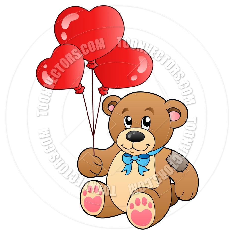 940x940 Cartoon Cute Teddy Bear With Balloons By Clairev Toon Vectors