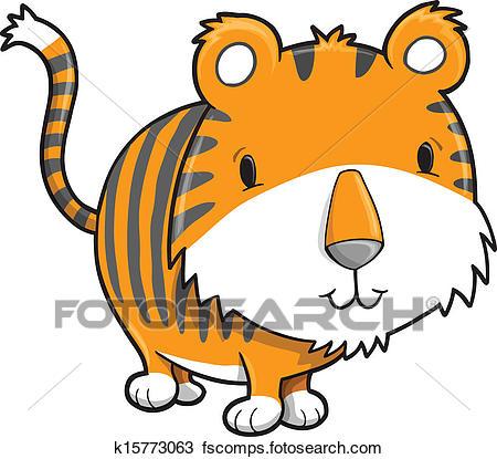 450x415 Clipart of Cute Safari Tiger Cub Vector k15773063