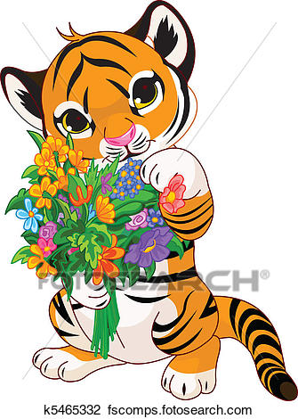 335x470 Clipart Of Cute Tiger Cub With Flowers K5465332