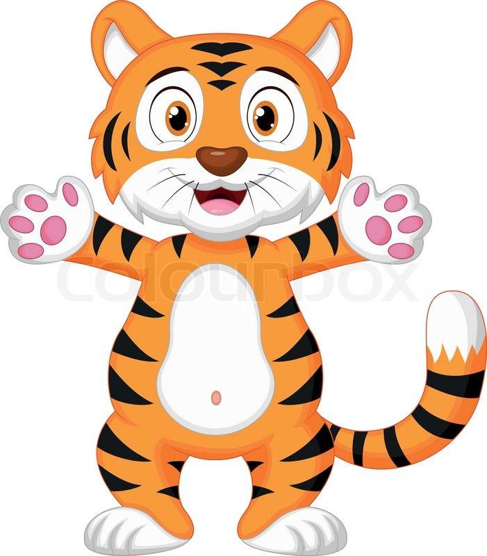 701x800 Cute Baby Tiger Cartoon Stock Vector Colourbox