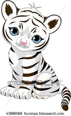 289x470 Clip Art of Cute white tiger cub k3886568