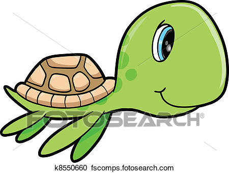 450x339 Clipart of Cute Happy Summer Sea Turtle Animal k8550660