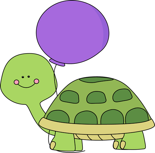 500x494 Turtle with Purple Balloon Clip Art
