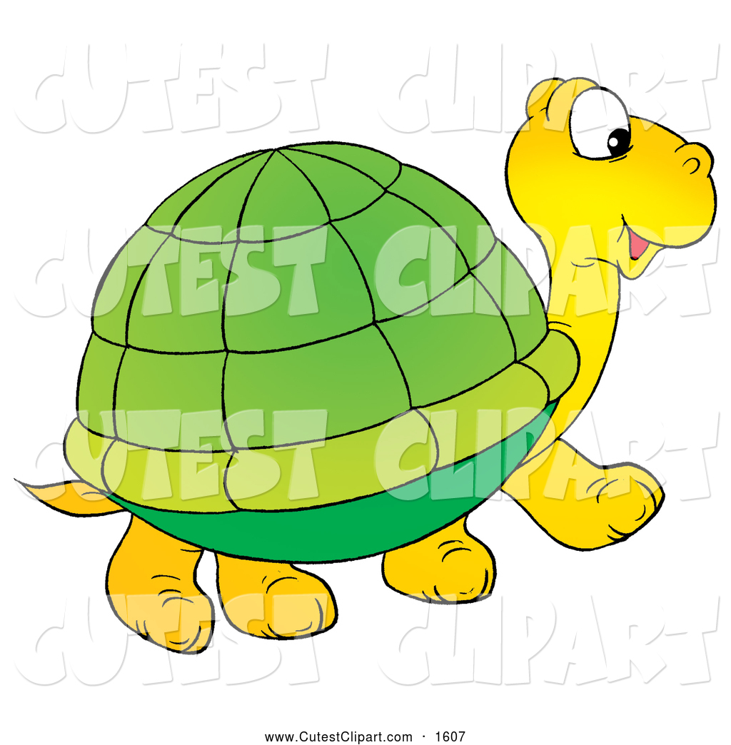 1024x1044 Clip Art of a Cute Yellow Tortoise with a Green Shell, Walking