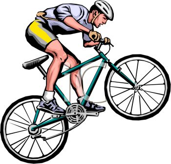 350x337 Clip Art Image Of A Man Popping Wheelies On His Bicycle