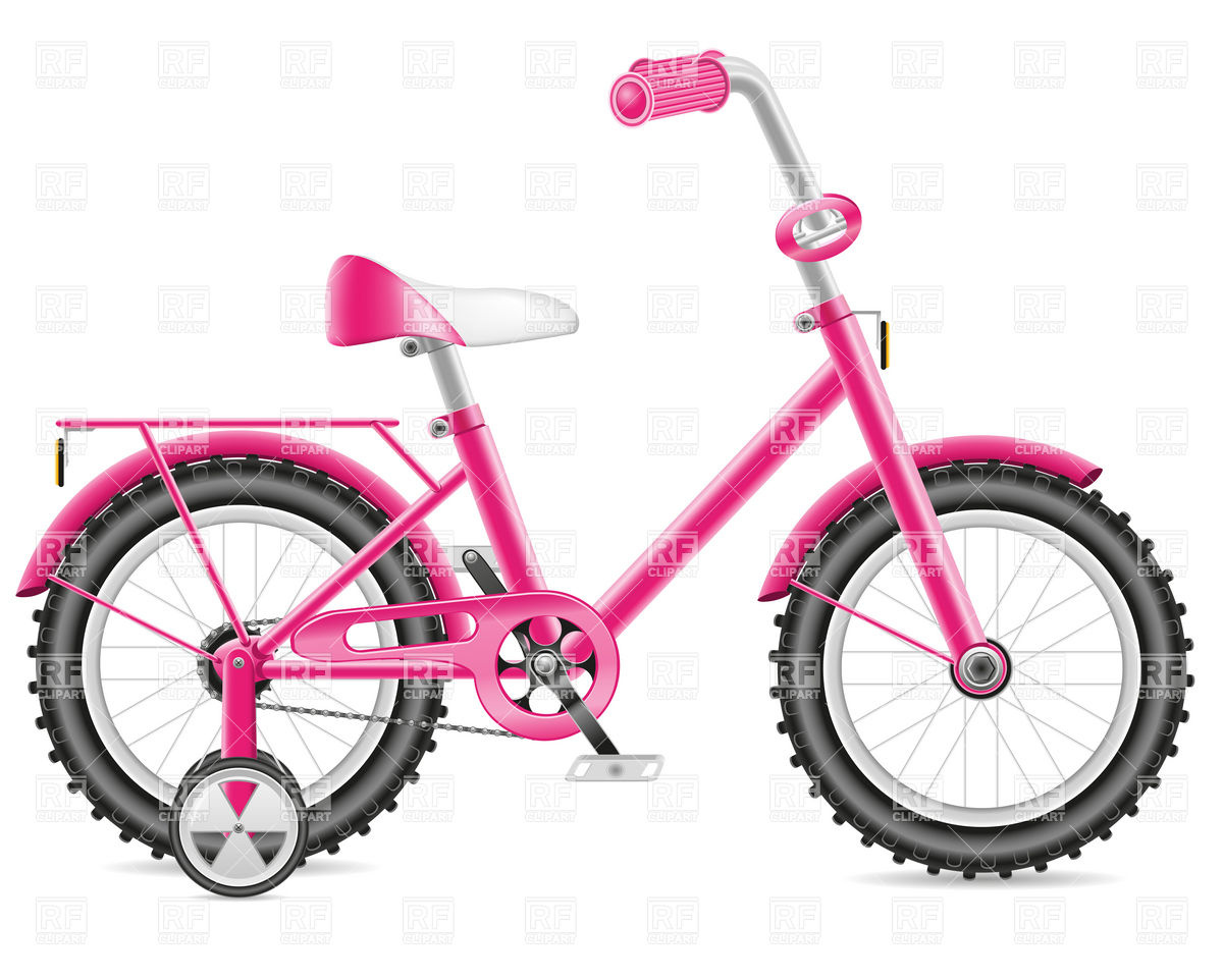 1200x962 Pink Child's Training Bicycle With Support Wheels Royalty Free