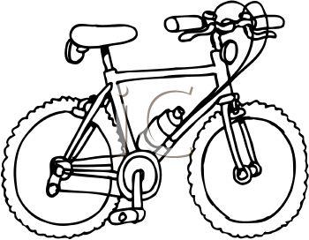 350x272 Royalty Free Clip Art Image Black And White Mountain Bike