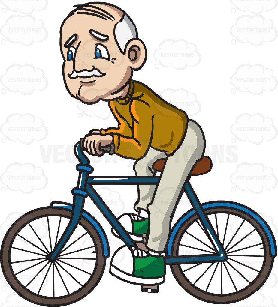 926x1024 A Grandpa Riding A Bicycle Cartoon Clipart