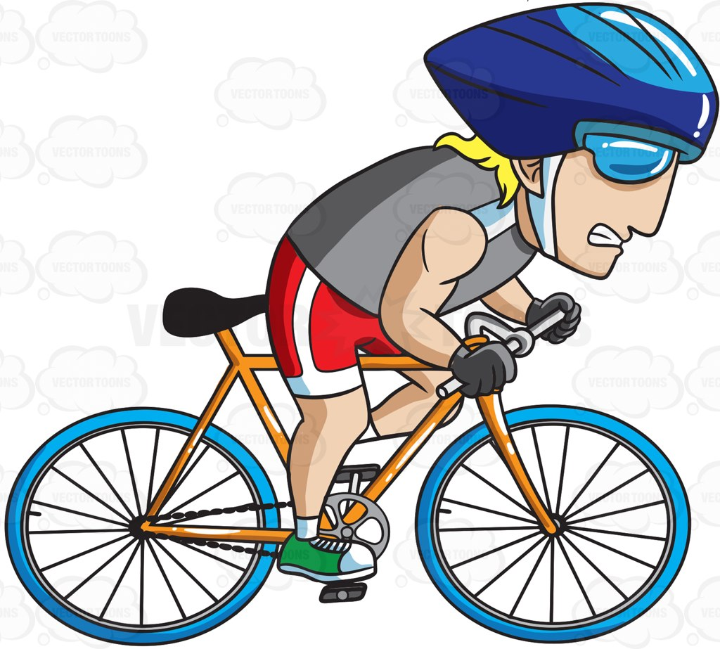 1024x923 A Man Pedaling His Bike Extra Fast Cartoon Clipart