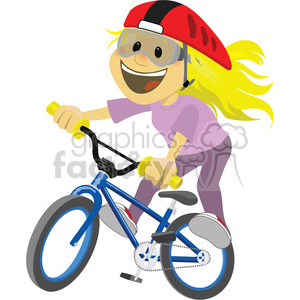 300x300 Royalty Free girl riding a bike clip art image 393875 vector clip