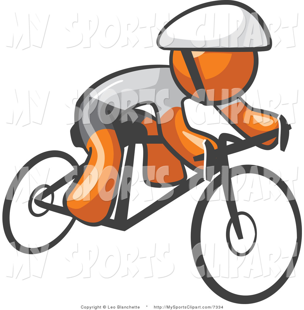 1024x1044 Sports Clip Art of a Orange Cyclist by Leo Blanchette