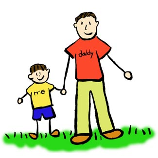 325x325 Father And Son Brunette Family Art Drawing Picture Father And Son