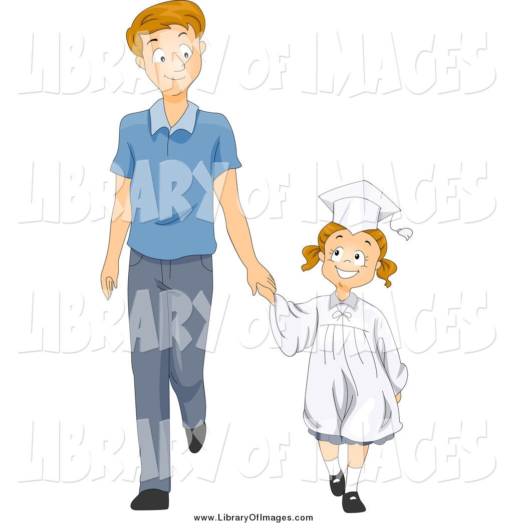 1024x1044 Clip Art Of A Happy White Little Graduate Girl Holding Hands